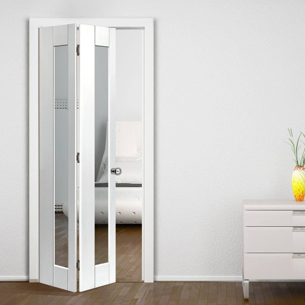 JBK Axis White Primed Bifold Door - Clear Glass