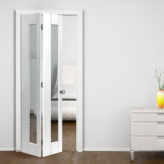 Image: JBK Axis White Primed Bifold Door - Clear Glass
