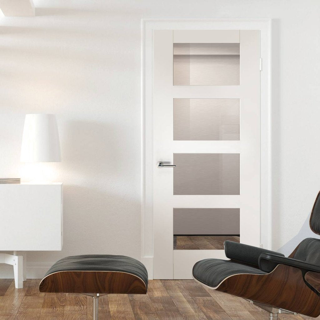Shaker style white glazed interior door