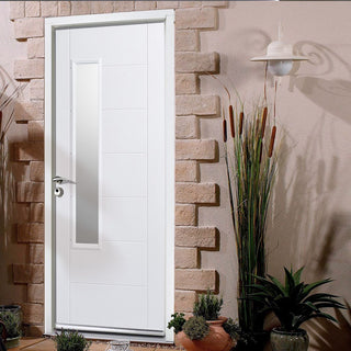 Image: GRP White Newbury Composite Door - Frosted Double Glazing