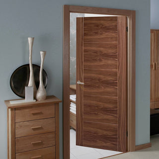 Image: Vancouver Walnut 5 Panel Flush Door - Prefinished