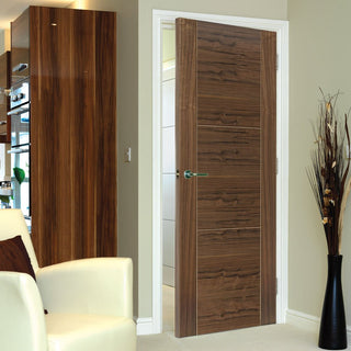 Image: Brisa Mistral Flush Walnut Veneered Door - Decorative Grooves - Prefinished