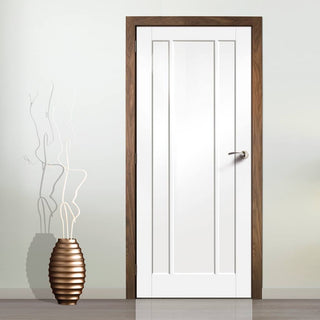 Image: Bespoke Worcester 3 Panel Fire Door is White Primed and 1/2 Hour Fire Rated