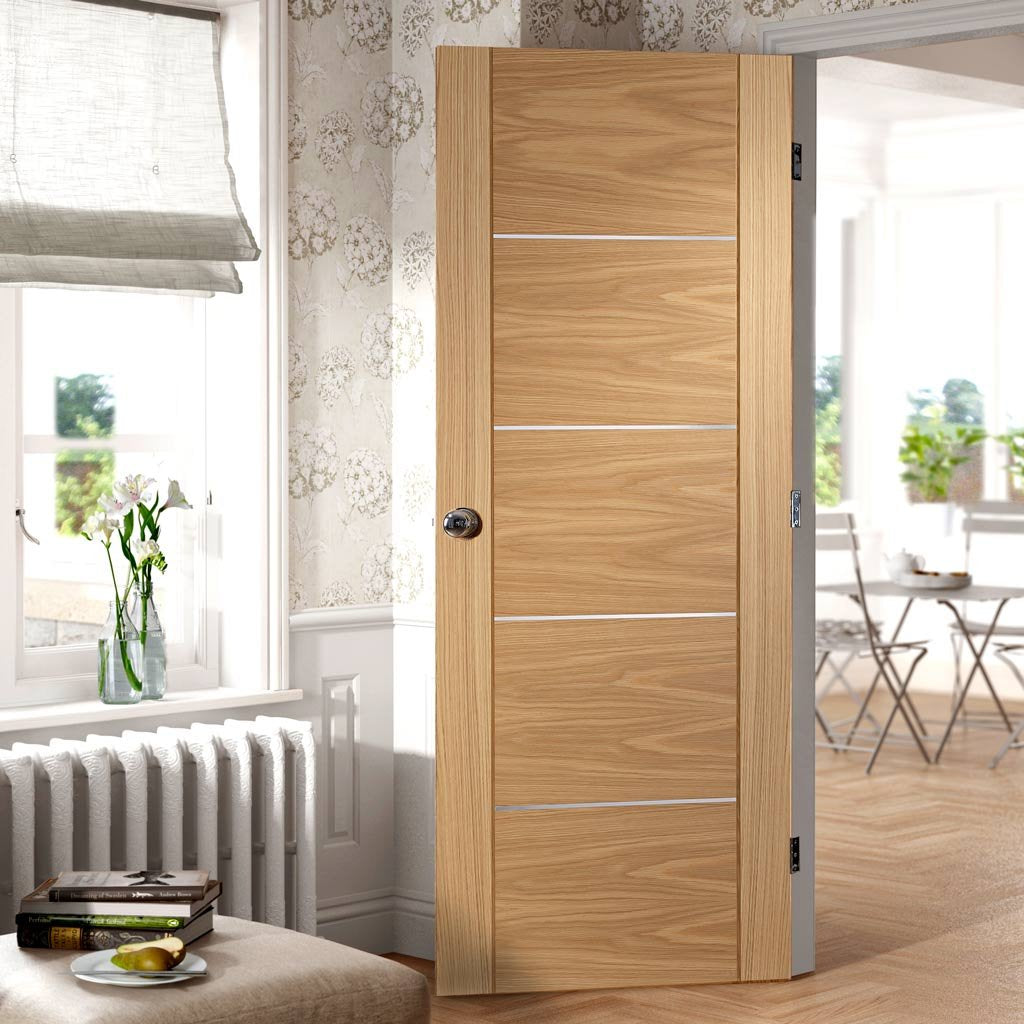 Fire Rated Portici Oak Door - Aluminium Inlay - Half Hour Rated - Prefinished