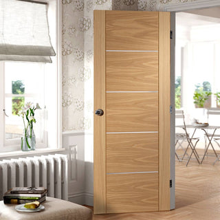 Image: Fire Rated Portici Oak Door - Aluminium Inlay - Half Hour Rated - Prefinished