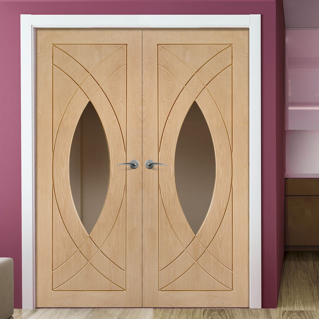 Treviso Oak Door Pair - Clear Glass - Prefinished