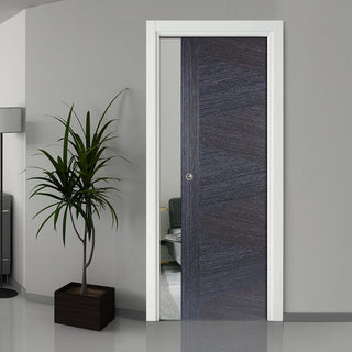 Image: Zeus Ash Grey Flush Single Evokit Pocket Door - Prefinished