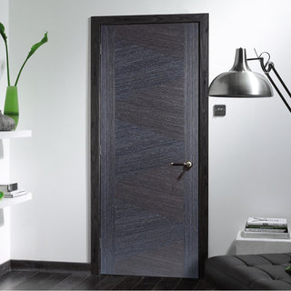 Image: Zeus Ash Grey Flush Fire Door - 1/2 Hour Fire Rated - Prefinished
