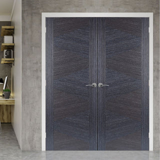 Image: Zeus Ash Grey Flush Door Pair - 1/2 Hour Fire Rated - Prefinished
