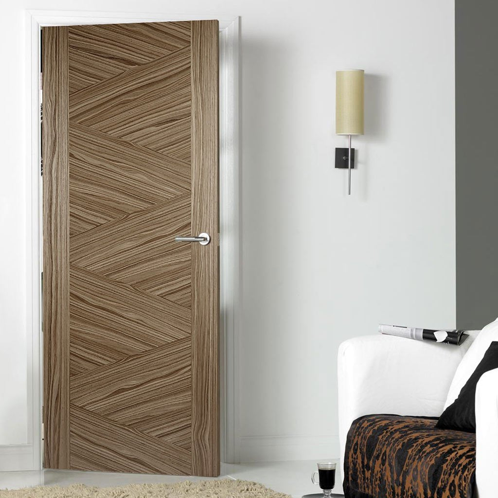 Contemporary walnut veneer interior door