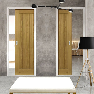 Image: Ely Real American White Oak Veneer Unico Evo Pocket Doors - Prefinished