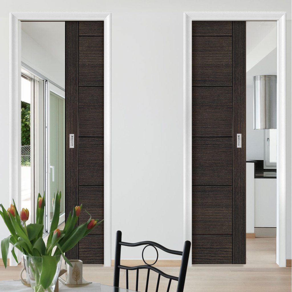 Montreal Dark Grey Ash Absolute Evokit Double Pocket Doors - Prefinished