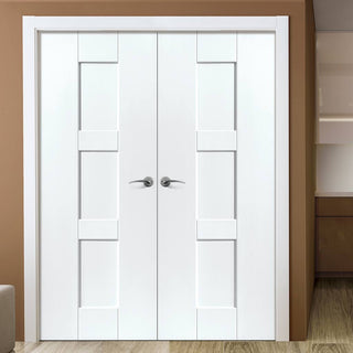 Image: J B Kind Geo White Primed Panel Fire Door Pair - 30 Minute Fire Rated