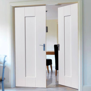 Image: J B Kind Axis White Primed Panel Fire Door Pair - 30 Minute Fire Rated