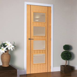 Image: J B Kind Oak Contemporary Blenheim Fire Door- 1/2 Hour Fire Rated - Prefinished