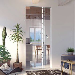 Image: Inveresk 8mm Clear Glass - Obscure Printed Design - Single Absolute Pocket Door