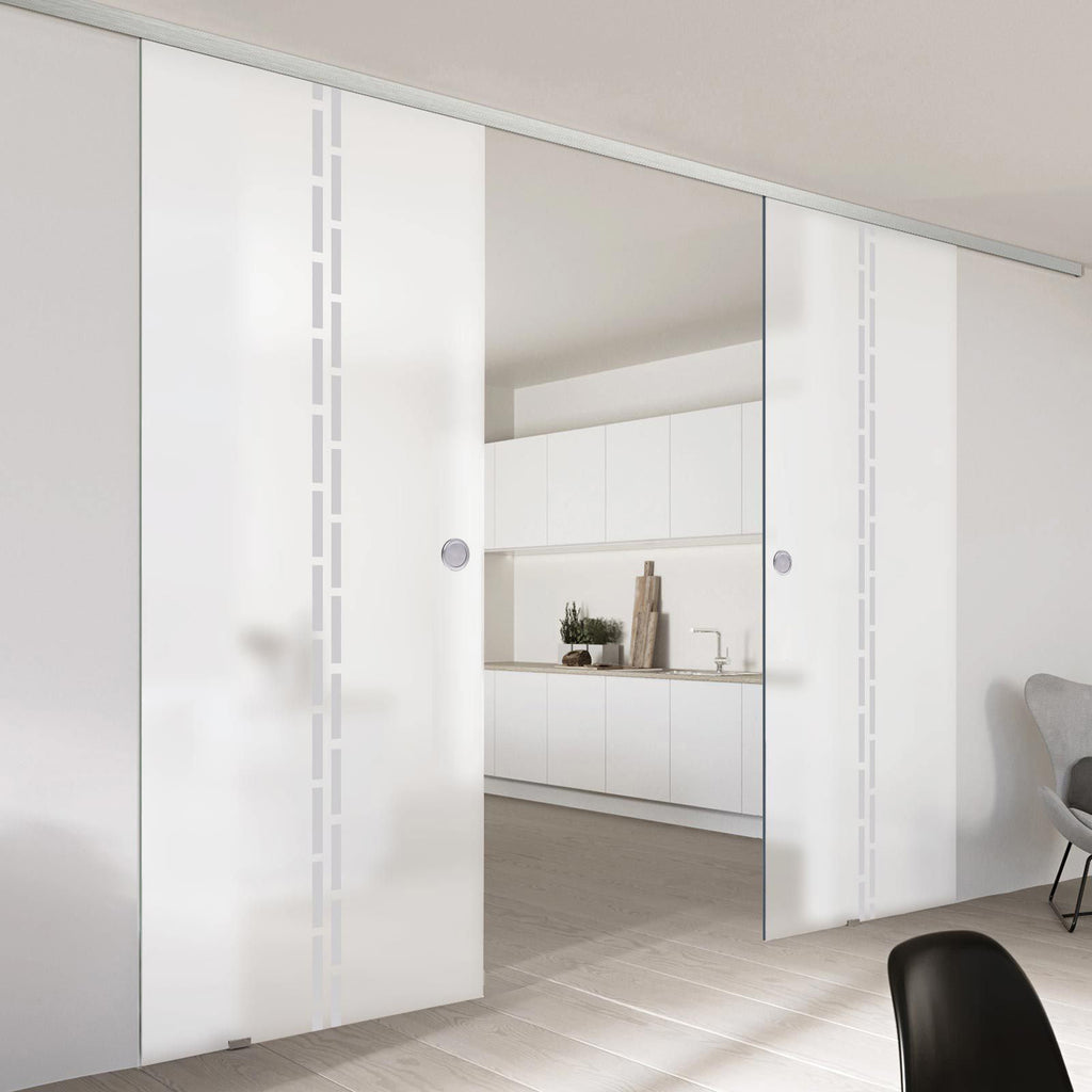 Double Glass Sliding Door - Inveresk 8mm Obscure Glass - Obscure Printed Design - Planeo 60 Pro Kit