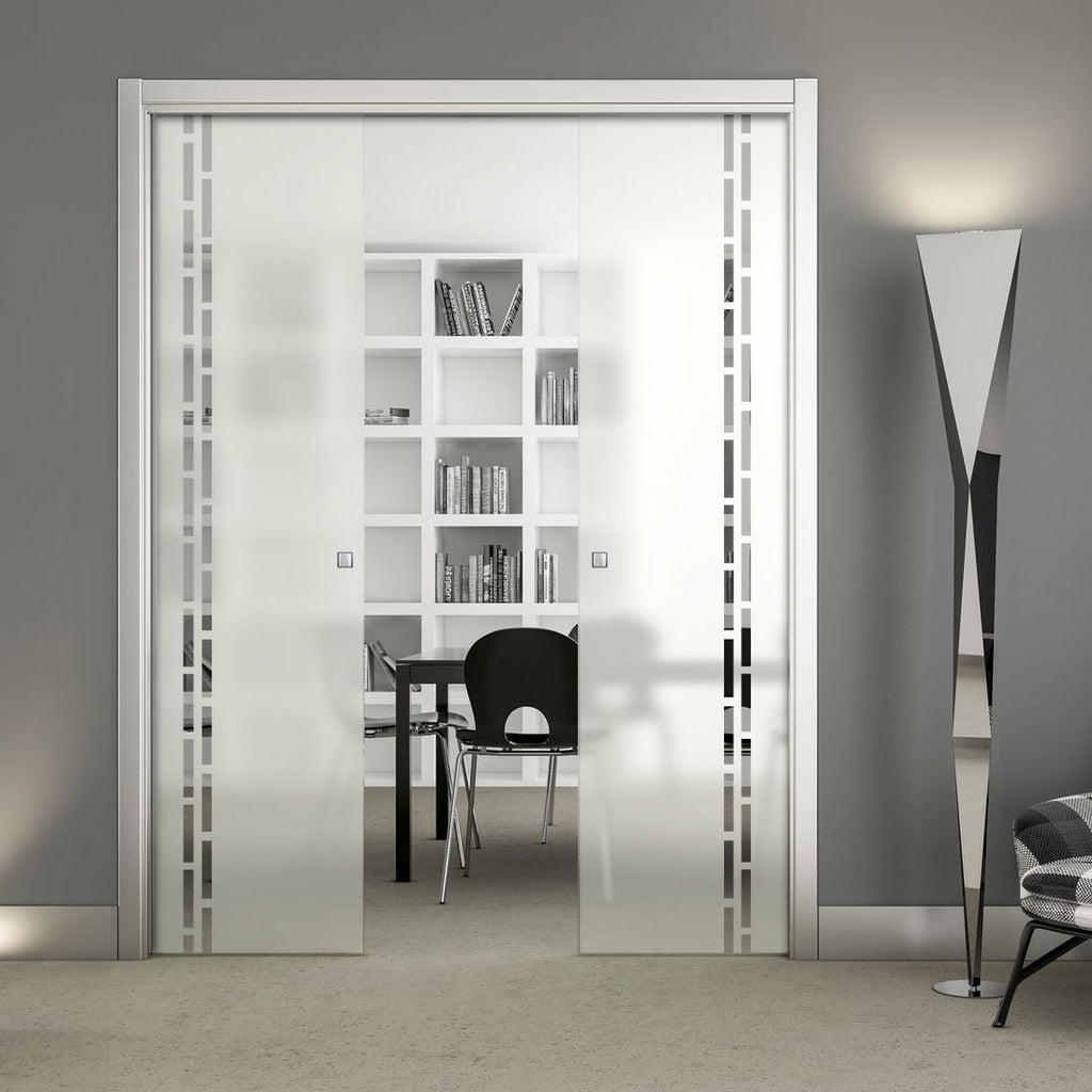 Inveresk 8mm Obscure Glass - Clear Printed Design - Double Evokit Pocket Door