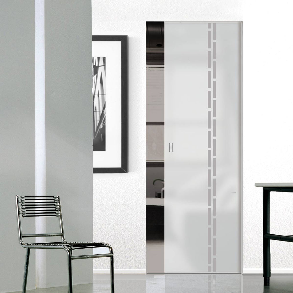 Inveresk 8mm Obscure Glass - Obscure Printed Design - Single Absolute Pocket Door