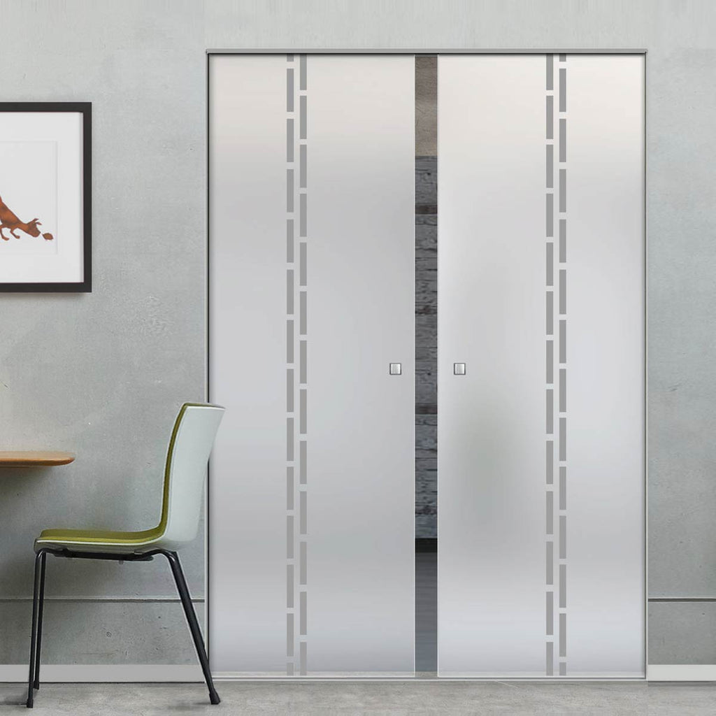 Inveresk 8mm Obscure Glass - Obscure Printed Design - Double Absolute Pocket Door