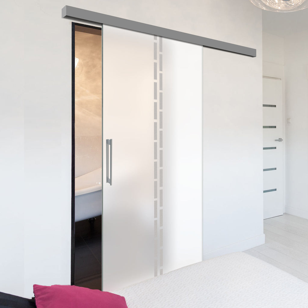 Single Glass Sliding Door - Inveresk 8mm Obscure Glass - Obscure Printed Design - Planeo 60 Pro Kit