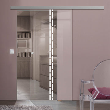 Single Glass Sliding Door - Inveresk 8mm Clear Glass - Obscure Printed  Design - Planeo 60 Pro Kit