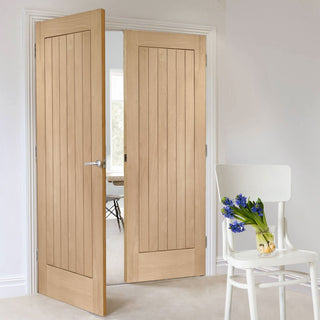 Image: Bespoke Suffolk Oak Door Pair - Vertical Lining
