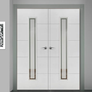 Image: J B Kind Dominion Fire Door Pair - Etched Glass - 30 Minute Fire Rated