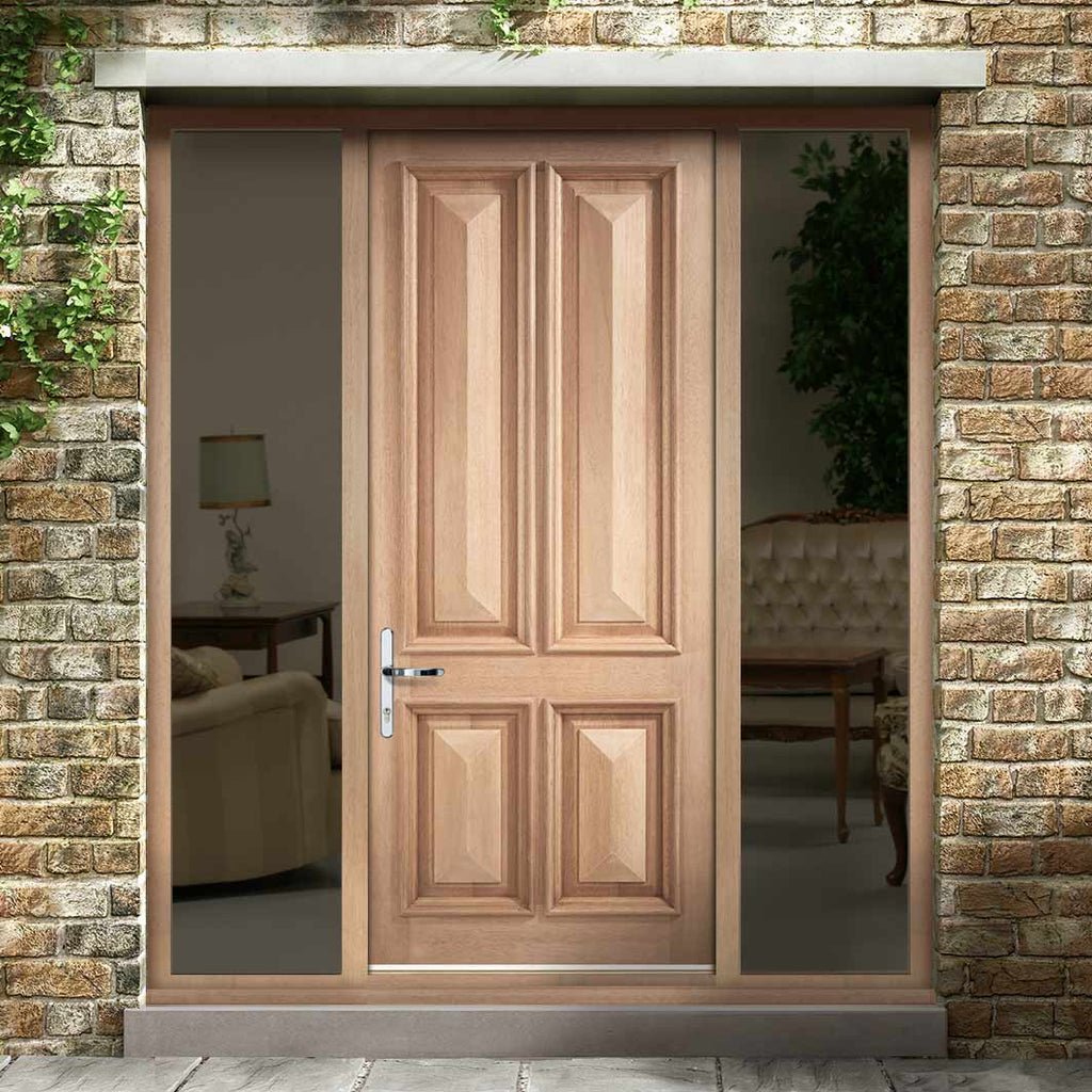 Islington 4 Panel External Hardwood Door and Frame Set - Two Unglazed Side Screens, From LPD Joinery