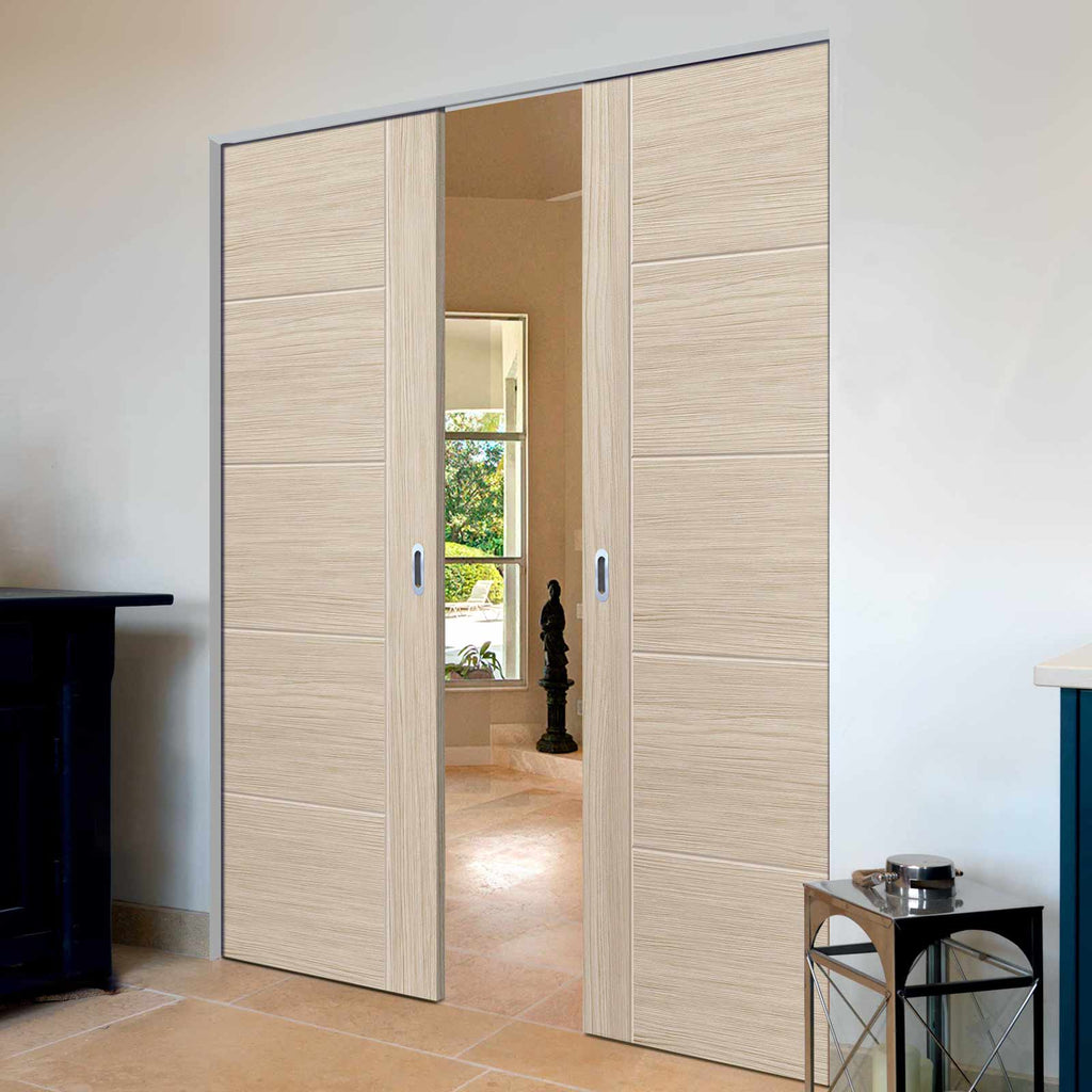 Laminates Ivory Painted Absolute Evokit Double Pocket Doors - Prefinished