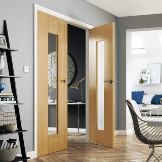 Image: J B Kind Axis Oak Shaker Door Pair - Clear Glass - Prefinished