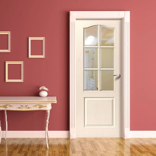 Image: Classique 6 Pane Door - Bevelled Clear Glass - Woodgrained & White Primed