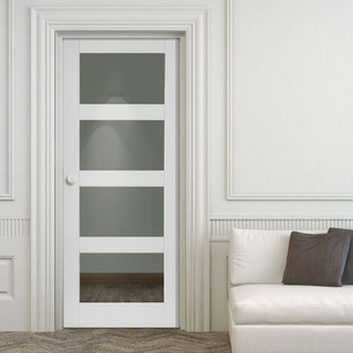Image: Cayman White Primed Door - Clear Glass