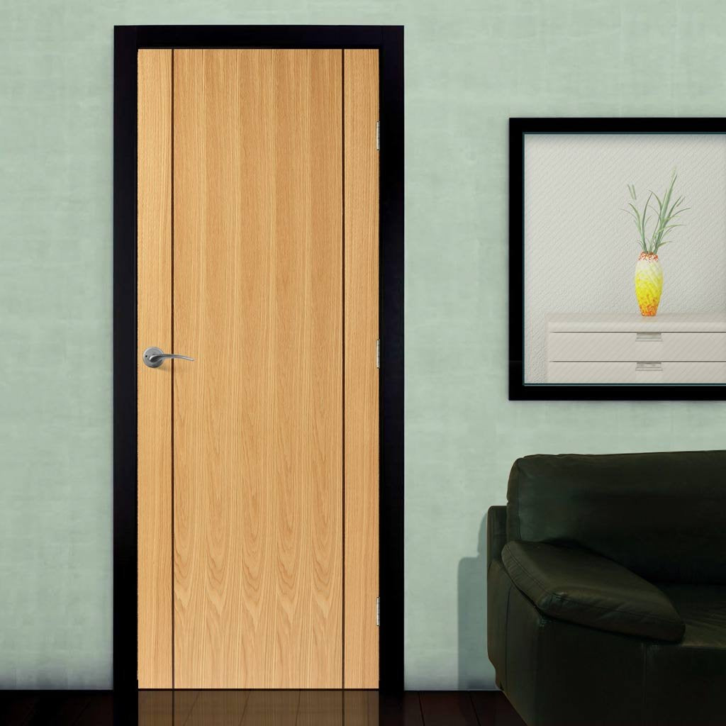 J B Kind Oak Contemporary Chartwell Fire Door - 1/2 Hour Fire Rated - Prefinished