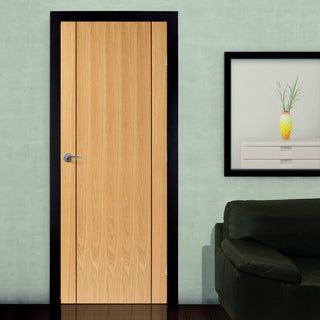 Image: J B Kind Oak Contemporary Chartwell Fire Door - 1/2 Hour Fire Rated - Prefinished
