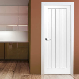 Image: Cottage 5P Moulded Fire Door - White Primed - 1/2 Hour Fire Rated