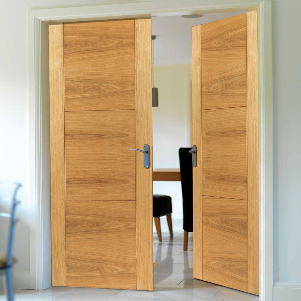 J B Kind Mistral Flush Oak Fire Door Pair - Decorative Groove - 30 Minute Fire Rated - Prefinished