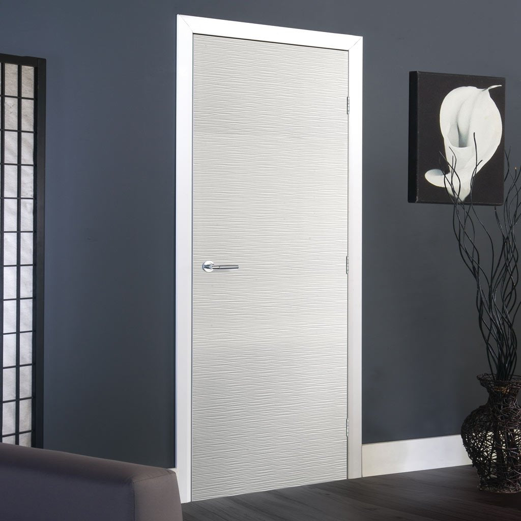 J B Kind White Contemporary Ripple Textured Primed Flush Fire Door - 30 Minute Fire Rated