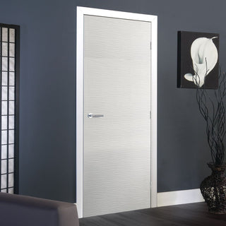 Image: J B Kind White Contemporary Ripple Textured Primed Flush Fire Door - 30 Minute Fire Rated