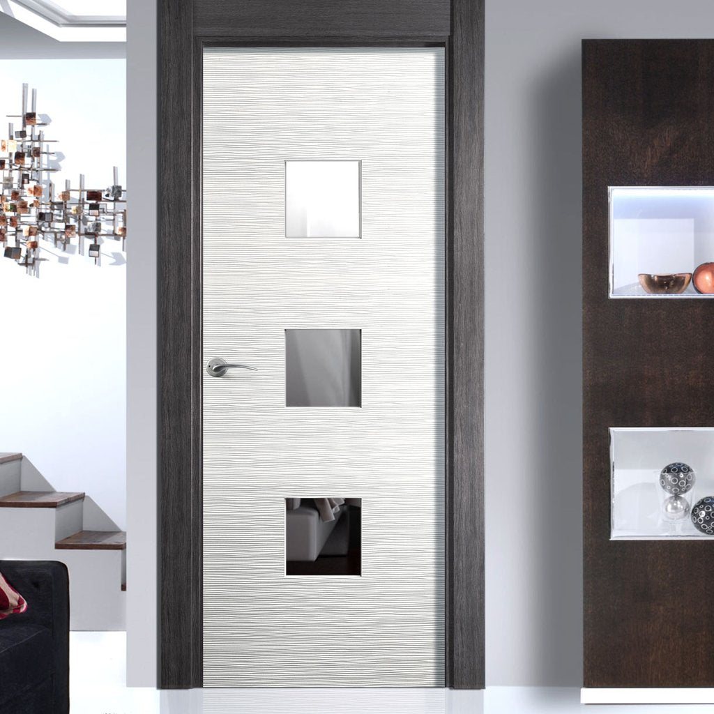Ripple Textured Flush Door With Clear Safety Glass