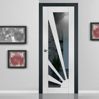 Image: Calypso Aurora White Primed Door - Clear Glass