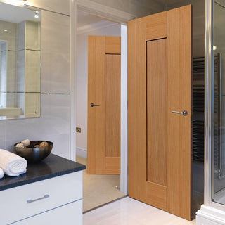Image: J B Kind Oak Shaker Axis Panel Door - 1/2 Hour Fire Rated - Prefinished