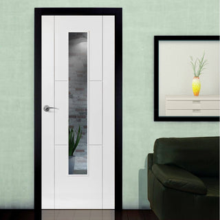 Image: J B Kind White Contemporary Mistral Primed Flush Door - Clear Glass