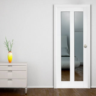 Image: Dominica White Primed Door - Clear Glass