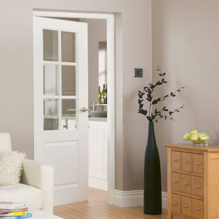 Image: J B Kind White Classic Faro Primed Door - Clear Glass