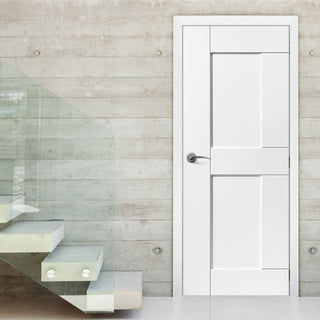 Image: JBK White Shaker Eccentro Primed Panel Door - 30 Minute Fire Rated