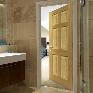 Image: Grizedale Oak 6 Panel Fire Door - 1/2 Hour Fire Rated - Prefinished