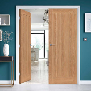 Image: J B Kind Laminates Hudson Oak Coloured Door Pair - Prefinished
