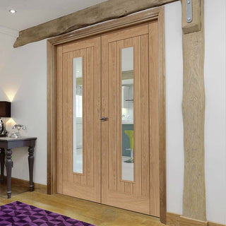 Image: J B Kind Laminates Hudson Oak Coloured Door Pair - Clear Glass - Prefinished