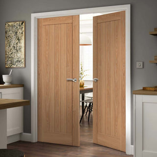 Image: J B Kind Laminates Hudson Oak Coloured Door Pair - 1/2 Hour Fire Rated - Prefinished